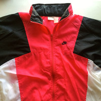 Vintage Nike Windbreaker Size M Red Black White Infrared