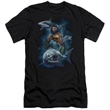 Aquaman Movie Slim Fit T-Shirt Swimming with Sharks Black Tee