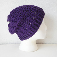 Slouchy Skullcap Beanie Hat in Aubergine Eggplant, ready to ship.