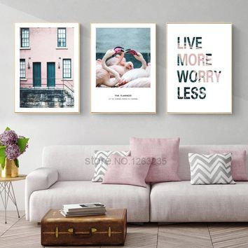 Pink House Nordic Poster Flamingo Cuadros Wall Art Canvas Painting Posters And Prints Wall Pictures For Living Room Unframed