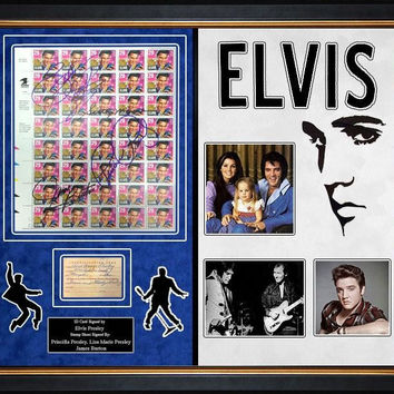 Elvis Presley Signed Luggage Tag With Signed Stamp Sheet