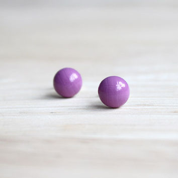 bright purple wooden earring studs // tiny wood post button earrings - everyday jewelry, eco-friendly jewelry, lilac stud earrings