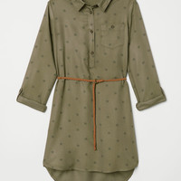 Shirt Dress - Khaki green/star patterned - Kids | H&M US