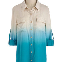 Live and Let Dip Dye Top in Turquoise | Mod Retro Vintage Long Sleeve Shirts | ModCloth.com