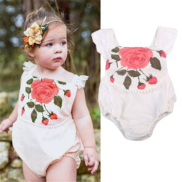 Newborn Infant Baby Girl Rose Print Romper Lace Outfits Flying Sleeve Clothes Newborn Baby Clothes