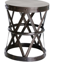 Hammered Drum Cross Table/Stool Dark Bronze Large