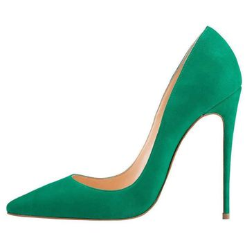 Kmeioo High Heels Women's Pointed Toe High Heel Slip On Stiletto Pumps Evening Party Basic Shoes Plus Size