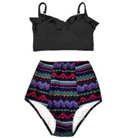 2017 New 2 Piece Black Top and Multi Color High Waist Bottom up to  Plus Size 3XL