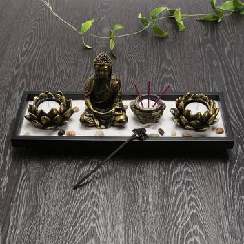 Traditional Chinese Style Buddha Lotus Flowers Sand Table Candle