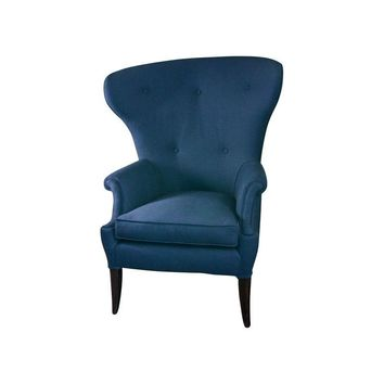 Pre-owned Mid-Century Reupholstered Wingback Chair
