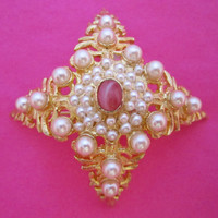 DeNicola Pearl and Pink Pin Large Domed Brooch Statement Jewelry Vintage Fashion Jewelry
