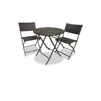 3-Piece Outdoor Bistro Set with Round Table & 2 Patio Chairs