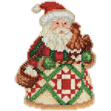 """Early Morning Santa (18 Count) Mill Hill/Jim Shore Counted Cross Stitch Kit 5""""X5"""""""