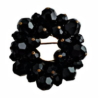 Black Glass Brooch Circle Pin Wreath Faceted Crystals