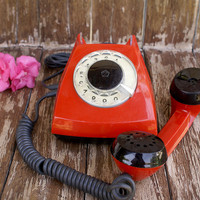 Vintage Red Rotary Phone , 1970s ,Soviet vintage,rotary telephone,Vintage desk phone ,Retro home decor,collectible gift,Soviet Union