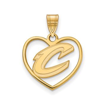 NBA Cleveland Cavs 14k Yellow Gold Plated Silver Heart Pendant