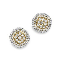 Bloomingdale'sWhite Diamond and Yellow Diamond Stud Earrings in 14K White Gold