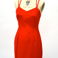 Vintage 90s Red Prom Dress Size Medium Large// Vintage Red Party Dress Body Con Cocktail Dress Size Medium Large