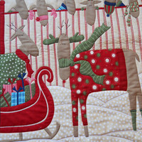 Patchwork Wallhanging / Christmas Reindeer lap Quilt /Quilted Wall hanging