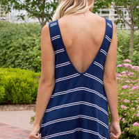 Samara Stripe Tank Dress- WHITE/NAVY