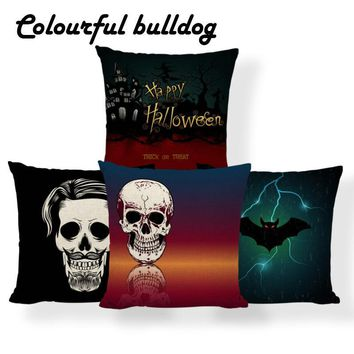 Sugar Skull Mexican Ghost Cushions Happy Halloween Pumpkin Bat Pillow Red Meditation Decor Gifts Pillowslip Covers 18 Inch Linen