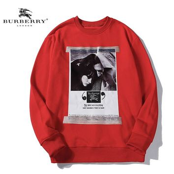 Burberry Fall Winter New Co-branded Poster Oil Painting Print Hoodie Red