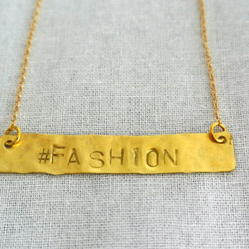 Personalized Hand Stamped Gold Bar Necklace with Hashtag - Hashtag Necklace 14kt Gold Filled - Gift for her
