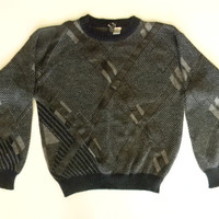 Vintage 80s 90s Cosby Graphic Sweater Abrstract Knit Sweater with Leather Panels