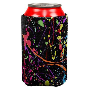ICIKIS3 Splatter Paint Black All Over Can Cooler