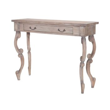 Carved Scroll Entry Table Weathered Tuscan