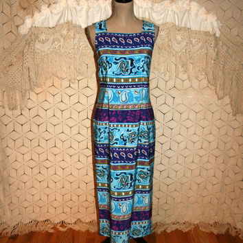 90s Summer Dress Blue Hawaiian Beach Paisley Tribal Sleeveless Maxi Dress Bohemian Print 1990s Womens Dresses Medium Vintage Womens Clothing