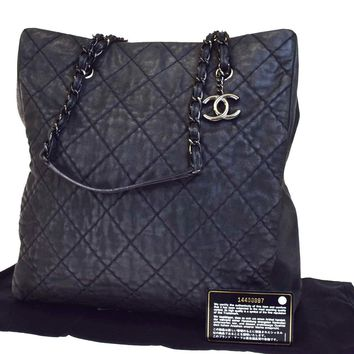 Authentic CHANEL CC Logos Charm Quilted Chain Shoulder Bag Leather Black 91EA619