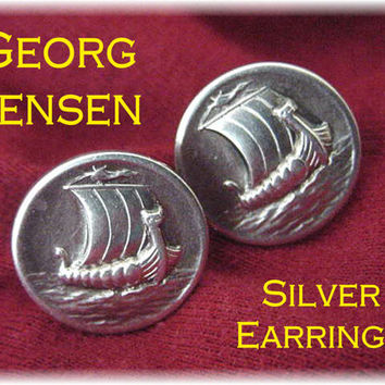 Georg Jensen  Viking Ship Earrings  830 Silver Scandinavian VERY RARE