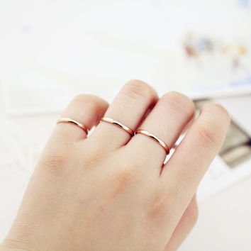 Top Quality Rose Gold Plated Titanium Steel 1.5mm depth high Polishing Glossy Women Rings/Cheap Women Rings Size 3 -10 availabe