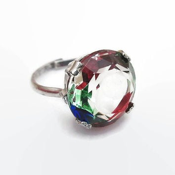 Iris Glass Ring, Art Deco Ring, Silver 835, German Germany, Rainbow Glass, Silver Ring, Vintage Ring, Vintage Jewelry, Size 6.5
