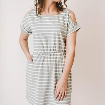 Cold Shoulder Striped Dress - Slate Blue
