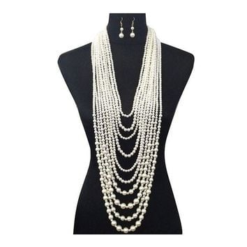 CREYV2S Women's Ten Multi-Strand Simulated Pearl Statement Necklace and Earrings Set in Cream Color