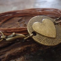 BRONZE HEART wrap bracelet in bronze with straps by AsaiBolivien 7,90