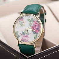 Flowers Printed Dial Lady's Quartz Dress Watch 8 Color Choosing Floral PU Leather Band Wristwatches #lcmq = 1956786628