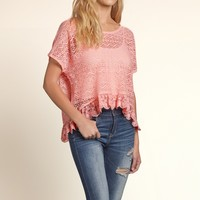 Embroidered Lace Boxy T-Shirt