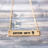Sisters Unite Gold / Silver Bar Necklace