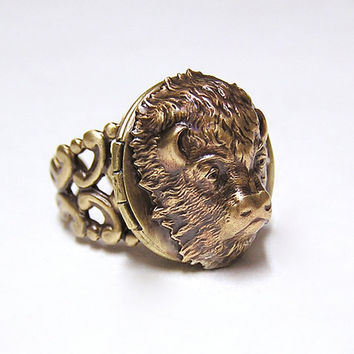 American BUFFALO Locket Ring Adorable by chinookhugs on Etsy
