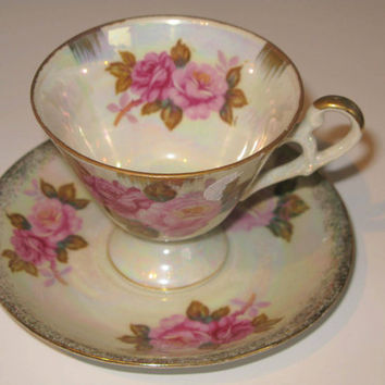 Teacup and Saucer Set, Lusterware Teacup Red and Pink Roses