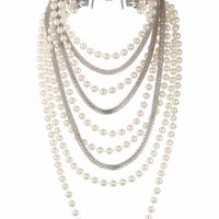 Mesh Pearl Multi-Row Necklace - Silver