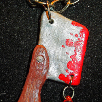 Handmade Bloody Cleaver Necklace with Blood Red Glass Bead Dangle