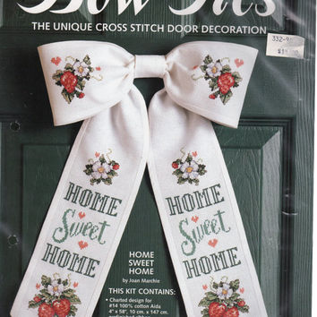 Home Sweet Home Door Decoration with Strawberries and Flowers, JCA Counted Cross Stitch Embroidery Kit