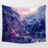 Galaxy Mountains Wall Tapestry by 2sweet4words Designs
