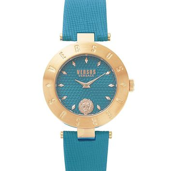 Versus by Versace Women's 'NEW LOGO' Quartz Stainless Steel and Leather Casual Watch, Color:Green (Model: S77060017)