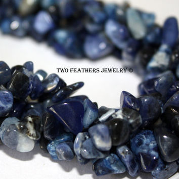 Sodalite Nuggets - Sodalite Medium Chips - 36 Inch Strand - Blue Gemstone - Semiprecious Beads - Beading Supplies - Jewelry Supplies