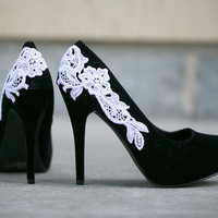 SALE - Black Heels, Black Pumps, Black Shoes with White Lace. US Size 7.5